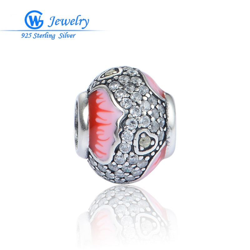 Crystal & Pink Enamel 925 sterling silver charms bracelet fits for European bracelets & necklace for women GW Fine Jewelry X408(China (Mainland))