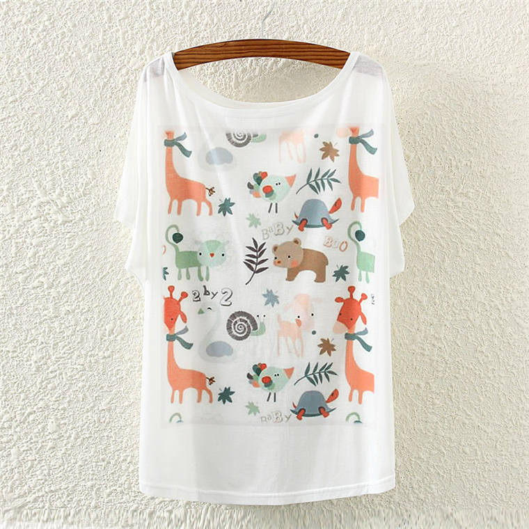 2016 Fashion Summer Cartoon The zoo cat dog printing plus size loose batwing Women Cotton Short Sleeved Women's T-shirt(China (Mainland))
