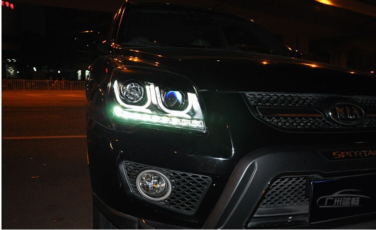 Auto Clud 2007-2013 For kia sportage headlights LED lights bars DRL bi xenon lens H7 xenon Angel Eyes head lamps car styling