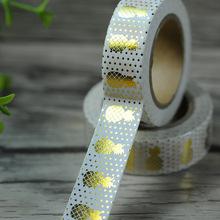 Gold Foil Printing Washi Tape For Christmas&Halloween Card 15mm Japanese Washi Decorative Adhesive Tape Masking Paper Tape Gift(China (Mainland))