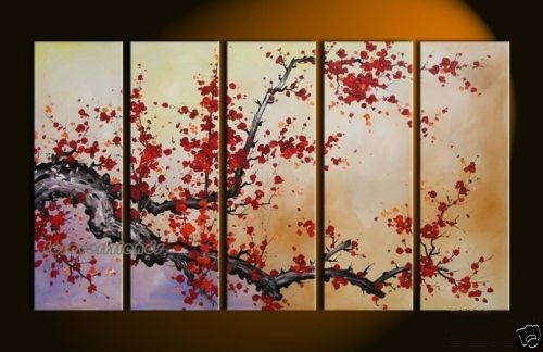 Modern Art Cherry Blossom Oil Painting Wall Decor Painting Have Framed