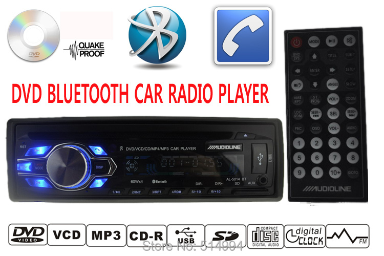 2015 new car DVD CD MP3 radio player Support BLUETOOTH answer / hang up the phone 12V 1 din audio stereo mp3 free shipping(China (Mainland))