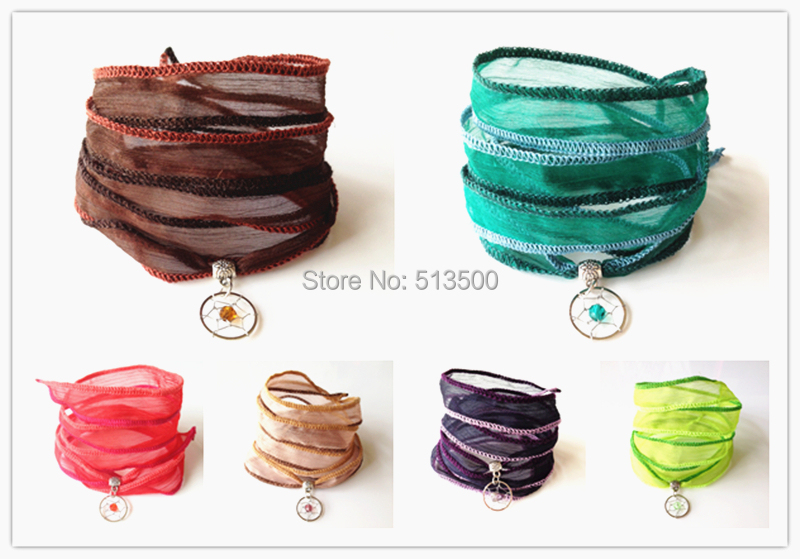 Silk Wrap Bracelet Yarn with Dream Catcher Charm 6 Colors Mixed Dream Catcher BraceletsFree Shipping <br><br>Aliexpress