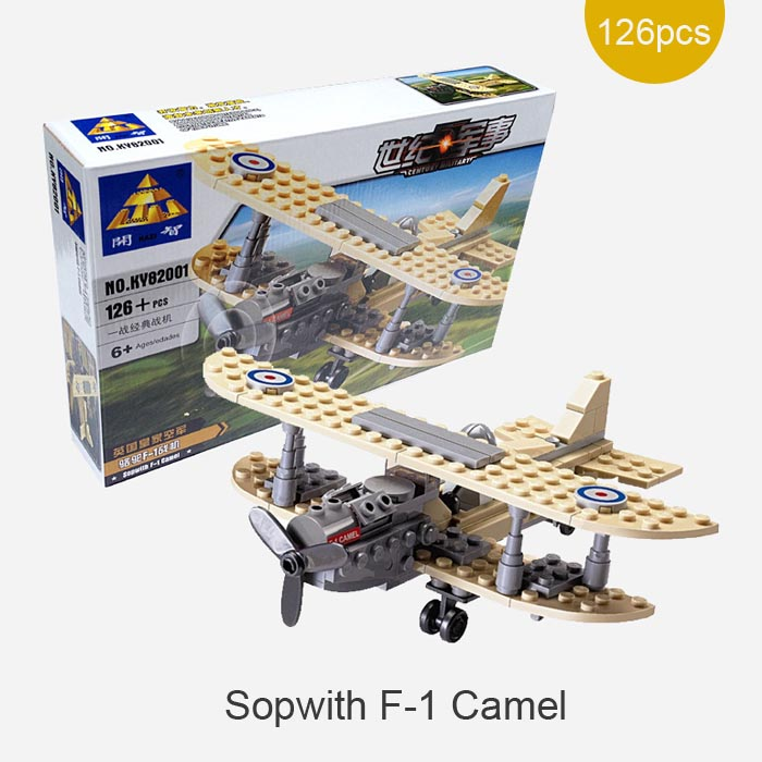 126pcs Century Military Sopwith F-1 Camel World War 1 Fighter Plane Building Toy UK Royal Air Force Model Compatible with lego(China (Mainland))