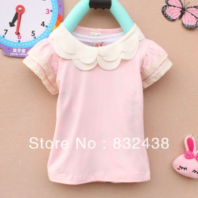 Children Clothing Korean version summer girls short-sleeved T-shirt solid color cotton cute doll collar - Home & Living Daily Items Shop store