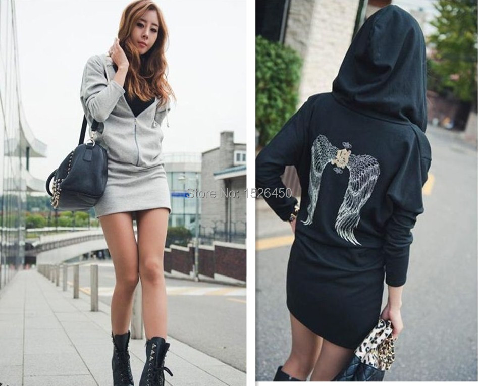 Women baseball jacket casual sweat skirt suits female sport sweatshirt shorts tracksuits wings in the back hoodies dress suit(China (Mainland))