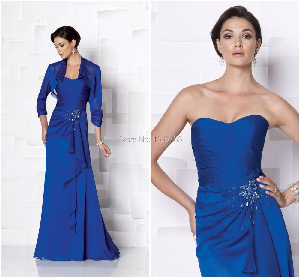royal blue color beaded ruched chiffon formal