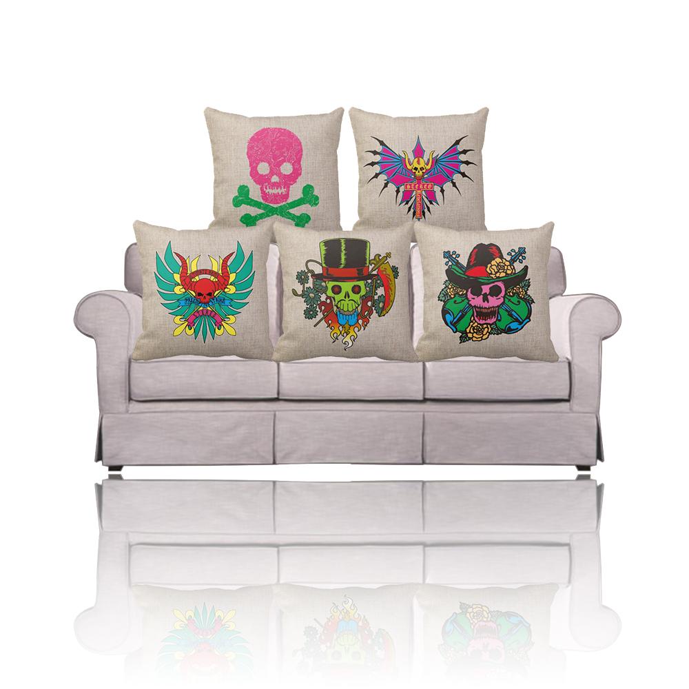 New tattoo sugar skull decorative throw pillow cover funda - Funda para sofa ikea ...