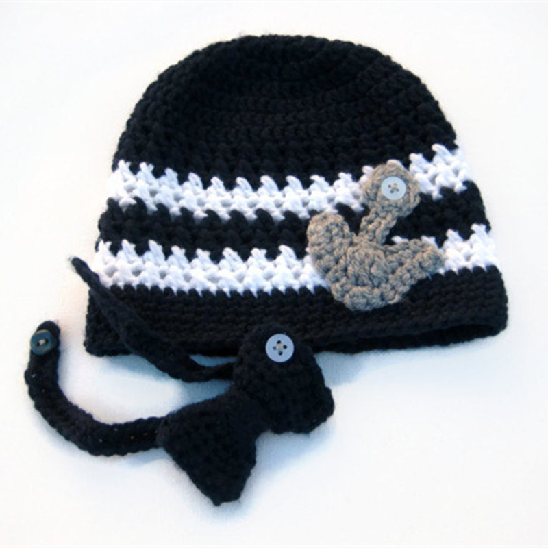 Lovely Marine Baby Hat,Handmade Knit Crochet Baby Boy Girl Navy Anchor Hat and Bowtie,Black Child Winter Hat,Toddler Photo Prop(China (Mainland))