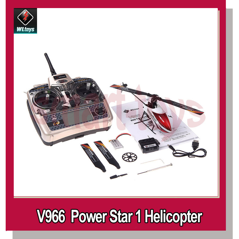 WLtoys V966 Power Star 1 2.4GHz 6CH 3D 6-Axis Gyro Flybarless RC Remote Control Helicopter(China (Mainland))
