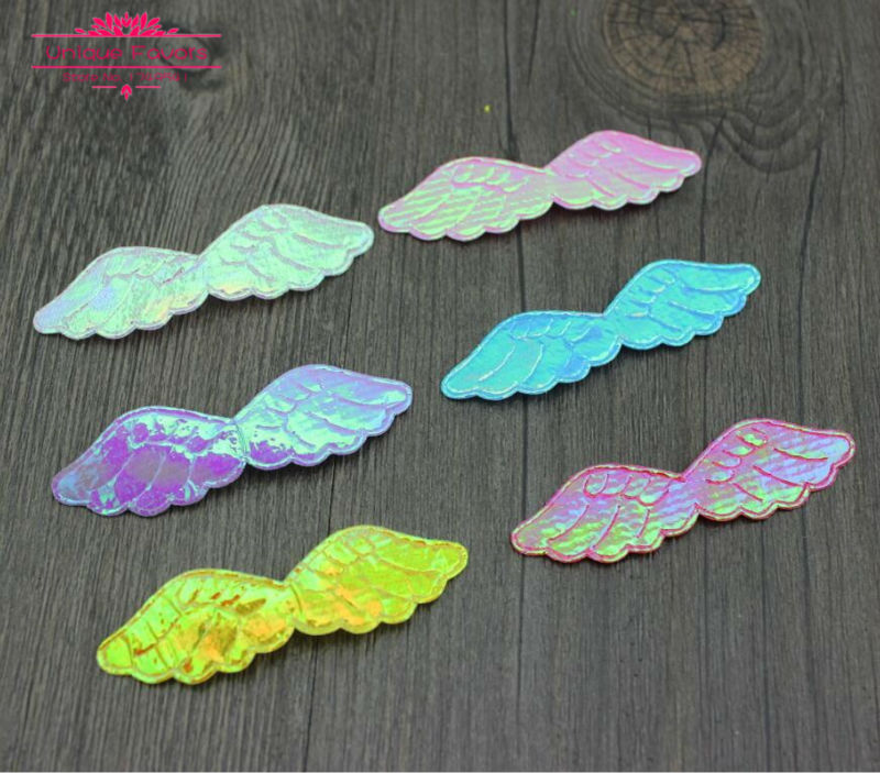 New Arrival 300pcs Glossy Fabric Angel Wing Patches Single Sided Glitter Angel's Wing Applique Patches Scrapbooking,DIY Craft(China (Mainland))