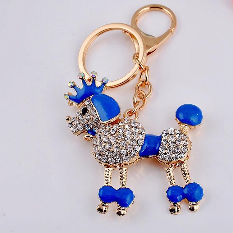 Bisutería Rhinestone perro corona llaveros sostenedor del anillo Animal de moda llavero monedero bolso colgante envío
