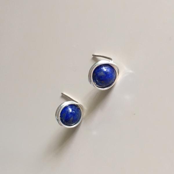 Natural Lapis Lazuli Earrings 925 Silver Earrings Handmade Natural Semi-precious Gem Stone Bead Earring(China (Mainland))