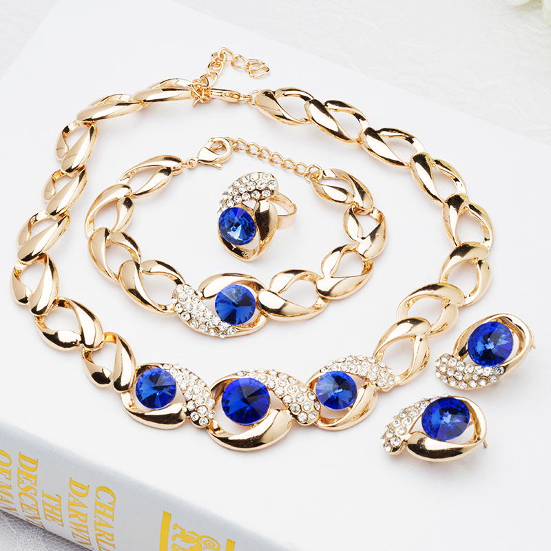 2015 Africa Fashion Blue/Red Beads Pearl Necklace Female Accessories Costume jewelry Sets Party J015 - Verynice Jewelry store