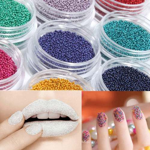 12 Colors Caviar Nail Glitter Plastic Beads Glitter Powder Manicures or Pedicures Nail Art Decoration Nail Tools(China (Mainland))
