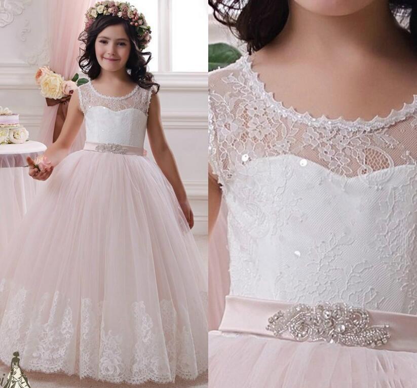 Elegant White Pink Lace Flower Girl Dresses For Weddings