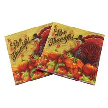 [RainLoong] Printed Feature Thanksgiving Paper Napkin Event & Party Tissue Decoupage Servilleta 33cm*33cm 20pcs/pack/lot(China (Mainland))