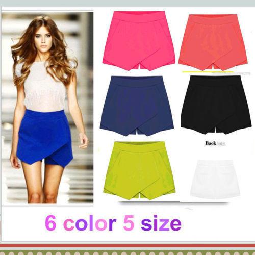 2015 Hot Korean Fashion Tiered Asymmetric Wrap Shorts Skorts Skirts Mini Short Pants(China (Mainland))