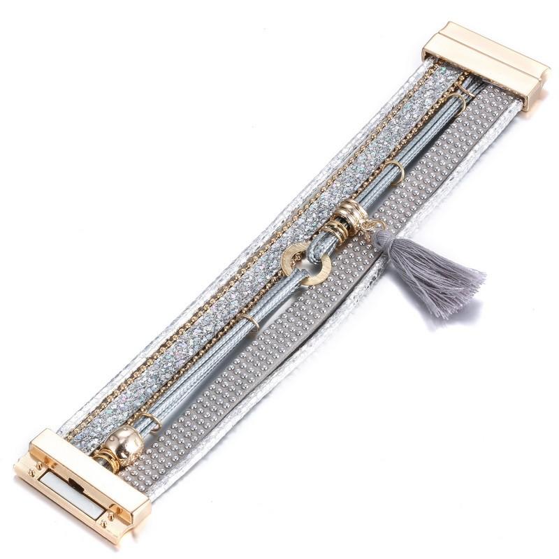 Мода широкий женщины и мужчины кожаный браслет и браслеты богемы стиле старинных кристалл ручной браслет с кисточкой