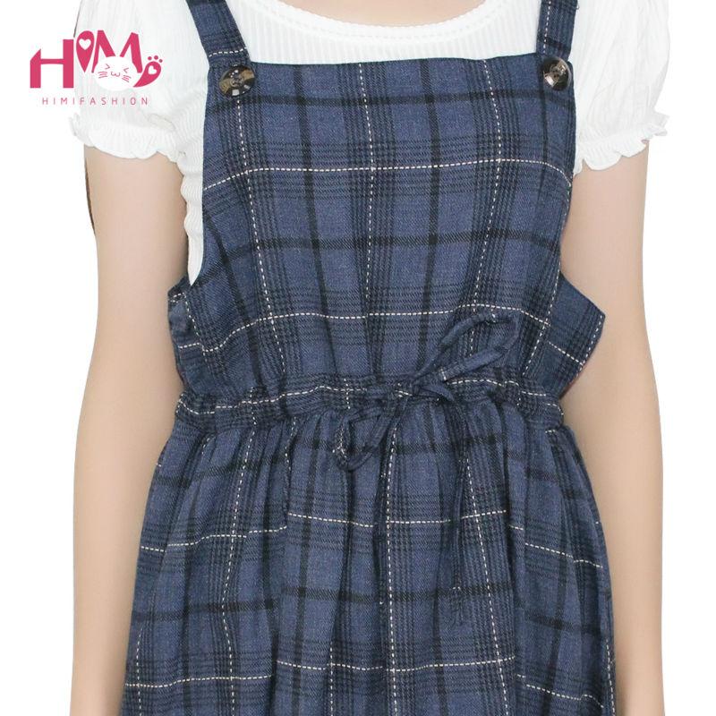 Vintage autumn new collection plaid non sleeve dress mori girl fresh square collar all match spaghetti strap women dress2