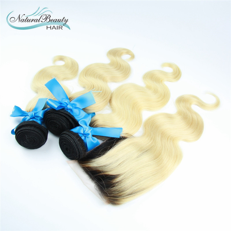 Brazilian omber blond Hair With Closure 7A Grade 3 Bundles With Closure Brazilian Body Wave hair With Lace Closure free shipping<br><br>Aliexpress