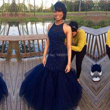 Élégant bleu marine perles longues sirène robes de bal 2016 formelle Tulle Sexy robes de soirée pas cher parti robe robes de fiesta(China (Mainland))