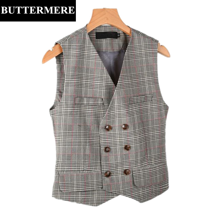 BUTTERMERE Brand Womens Plaid Vest Double Breasted Waistcoat Sleeveless Jacket Retro Vintage Suit Vest Brown Grey Gilet Femme(China (Mainland))
