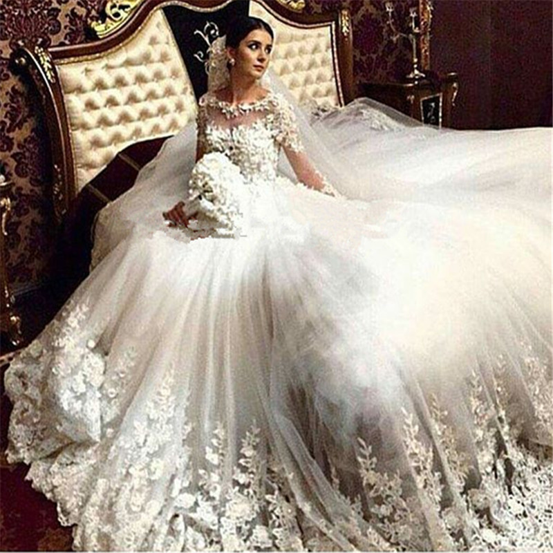 Custom Made With Handmade Flowers Ball Gown Sheer Long Sleeve Lace Wedding Dr