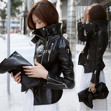 new PU leather motorcycle jacket outerwear plus size stand collar outerwear free shipping(China (Mainland))