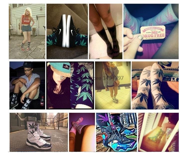 1 пара мужчины носок кленовый лист носки длинные мода каннабис марихуана сорняков носки длинные скейтборд хип-хоп носки Meia женщин унисекс