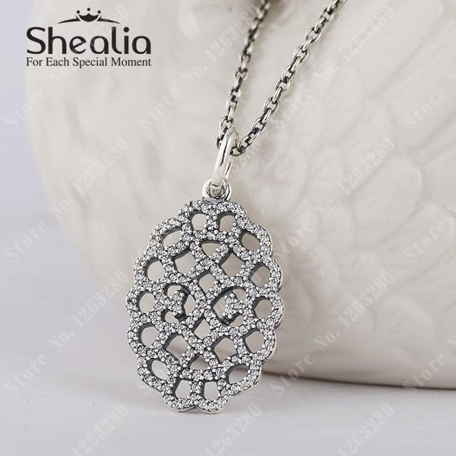 Мерцающие кружево подвески с прозрачный камнями и ожерелье микро-проложить кулон 925 чистое серебро Shealia модное ювелирные изделия