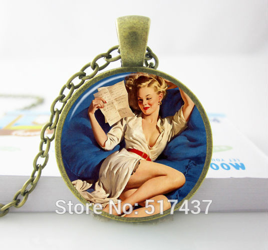 Well Hello Sailor Pinup Girl Necklace Sailor Pinup Jewelry with sexy girl Pinup Girl Art Pendant PIRATE GIRL(China (Mainland))