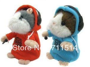 Hot sale 10 pieces/lot  Early Learning Wear Clothes DJ Hamster Talking Toy for Kids,4color plush toy