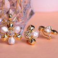 Joias Gold 18K Bijuterias Heart Indian Flower Pearl Jewelry Sets Wedding Dress Earrings Perolas Thin Necklace