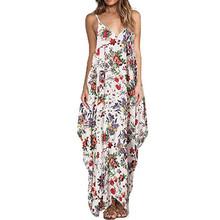 Buy Print Floral Loose Boho Bohemian Dress Women Sexy Strap V-Neck Retro Vintage Long Maxi Dress Summer Dress 2017 Plus Size 3XL for $12.81 in AliExpress store