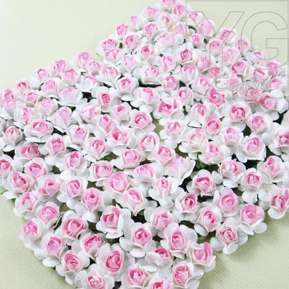 Good quality two tone pink mini paper flowers Real pic show mulberry paper flower for hair wreath scrapbooking decor 144/lot(China (Mainland))