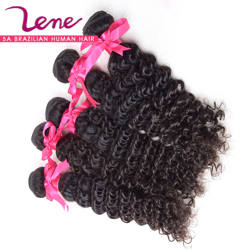 Top Quality 100% human hair weave curly natural black hair product deep curly real brazilian curly virgin hair(China (Mainland))