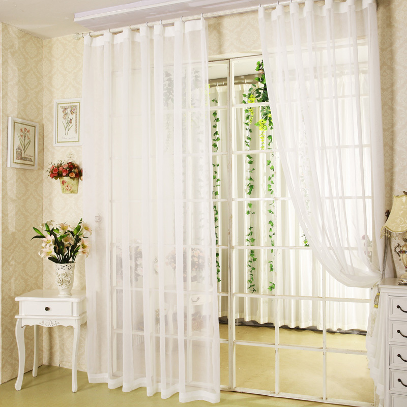Hot Sale White Sheer Curtains For Balcony Door Bay Windows The Finished Tulles Curtain Custom