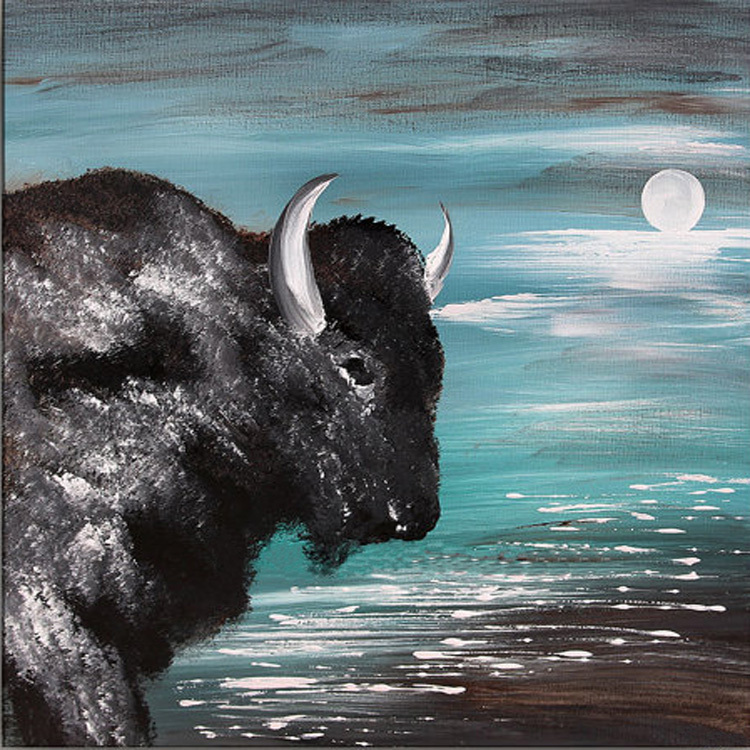 Super Artist Hand-painted High Quality Modern Abstract Buffalo Oil Painting On Canvas Modern Buffalo OX Oil Painting Decoration(China (Mainland))