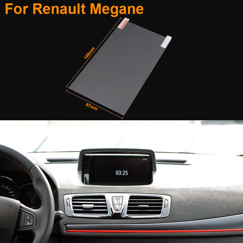 Car Styling 7 Inch GPS Navigation Screen Steel Protective Film For Renault Megane Control of LCD Screen Car Sticker(China (Mainland))