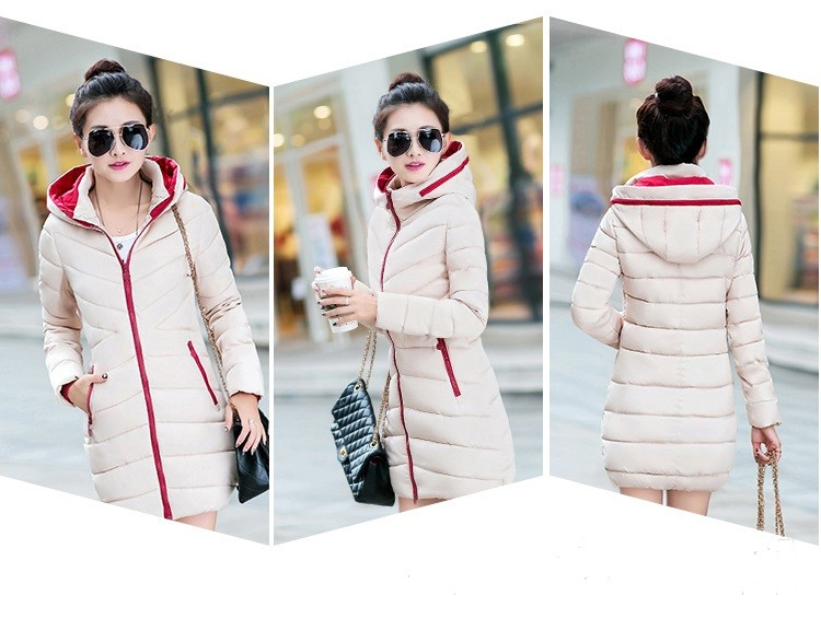 Free Shipping New Fashion Womens Hooded  Winter Feather Female  Long Cultivate One's Morality  With Thick Cotton-padded