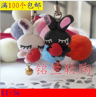 Cheap Polymer clay mobile phone chain fashion pottery lovers cell phone pendant hangings lovers(China (Mainland))