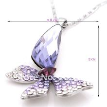 Charm Crystal butterfly Pendant necklace Free shipping withAAA crystals NC 104 designer Jewelry RIhood Jewery 2016