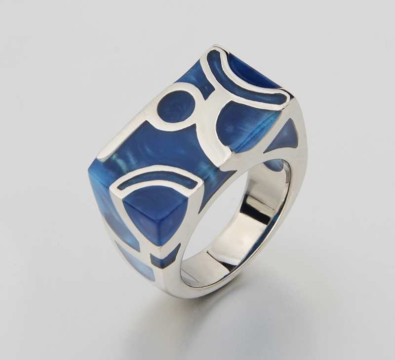 Unique Water Cube Blue Ocean Jewelry 316L Titanium Steel Women Men Rings ,Good Design Finger - Y-noble store