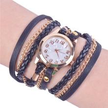 Lackingone 2015 relojes de moda de corea vintage reloj pulsera mujer casual larga de punto cuero cuarzo libera el envío