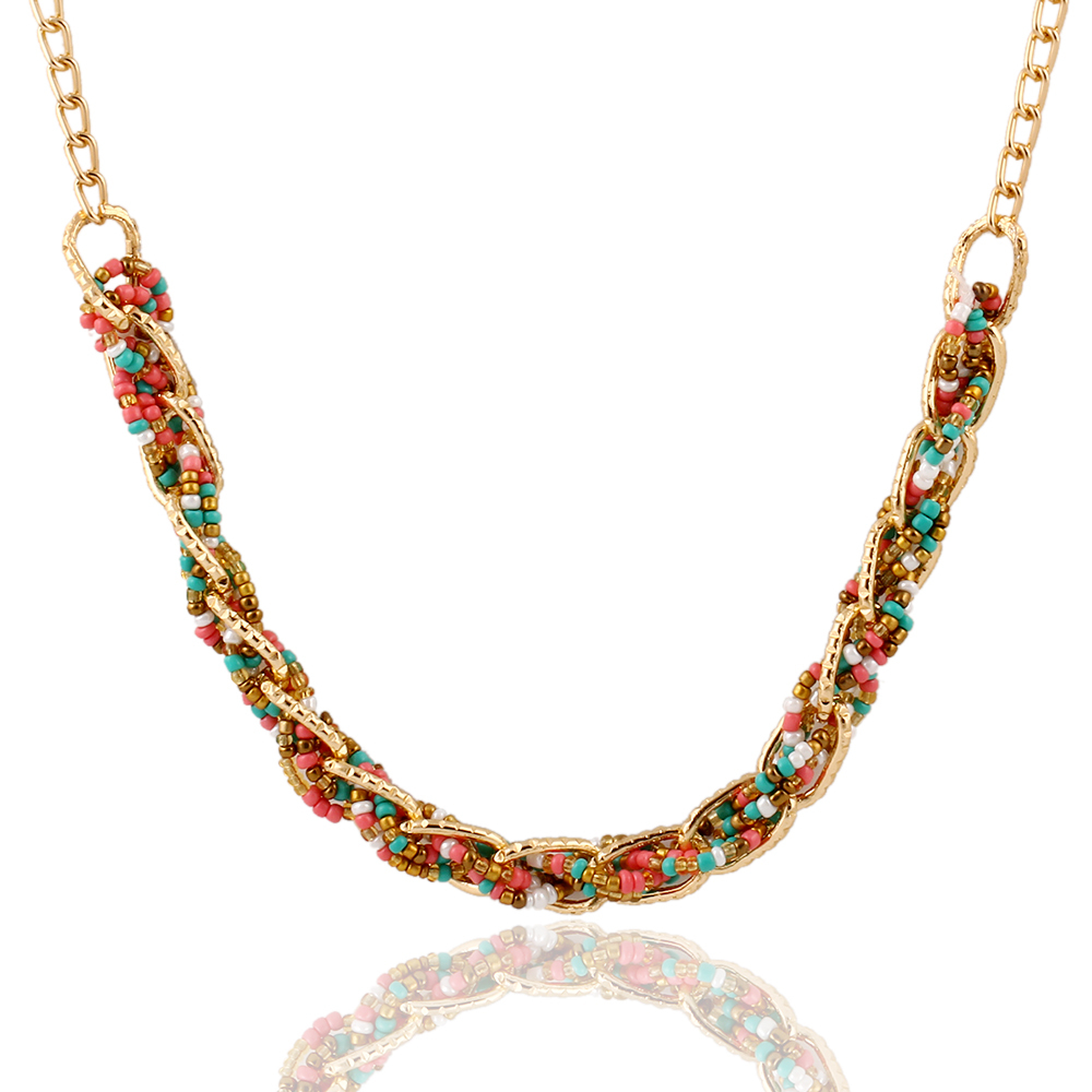 new woven 4 color bib statement beaded collar