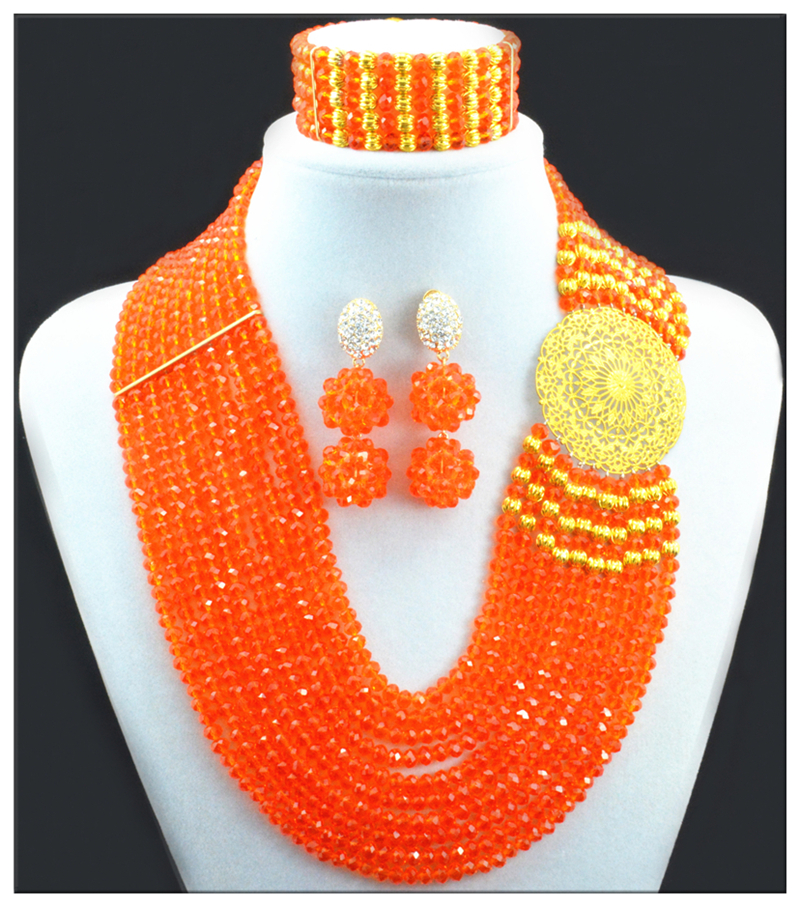Fashion Orange African Beads Jewelry Set Nigerian Wedding African Beads Jewelry Set Crystal Bridal 2016 New Free Shipping<br><br>Aliexpress