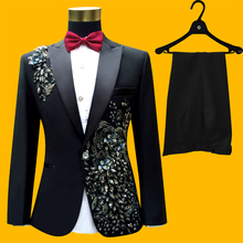Plus Size Men Suits ( Jacket + Pants ) S-4XL Fashion Black Paillette Embroidered Male Singer Slim Performance Party Prom Costume(China (Mainland))