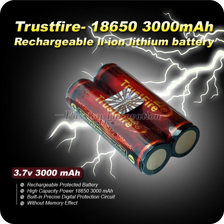 SALE + 2PCs/lot 18650 PCB Protected Battery Trustfire 3.7V 3000 mAh Lithium li-ion Camera Torch Battery Rechargeable Battery(China (Mainland))