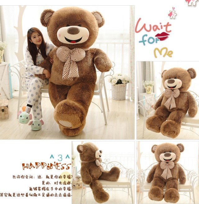 Highly Welcomed 120cm Giant Bear Dolls For Girls Adorable Big Stuffed Ted Plush Bear Toys Soft Kids Gifts Toys For Children(China (Mainland))